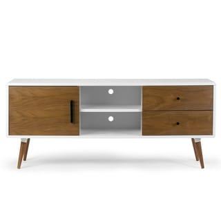 Alta Scandinavian Style Walnut and White Finish TV Stand