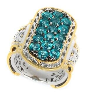 Michael Valitutti Palladium Silver Light Neon Apatite Elongated Cluster Ring