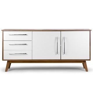Alva White/Walnut-finish Wood Scandinavian-style Sideboard Buffet Table