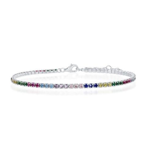 La Preciosa Sterling Silver 3mm Rainbow CZ Tennis 7.75'' Bracelet