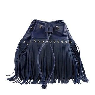 Fringed Bucket Bag with Crossbody