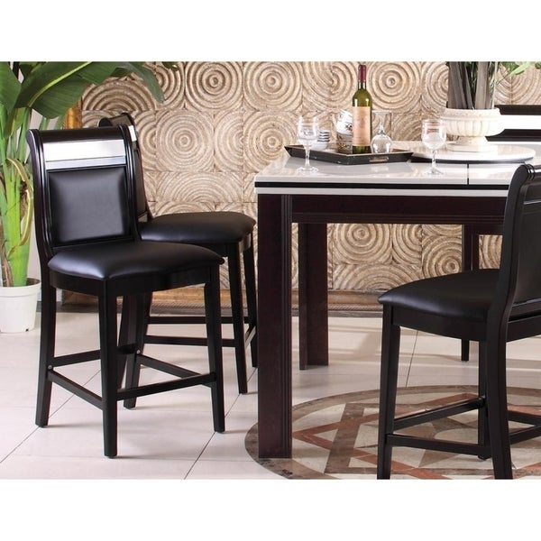 Best Master Furniture Espresso Upholstered Counter Height Stools (Set of 2)