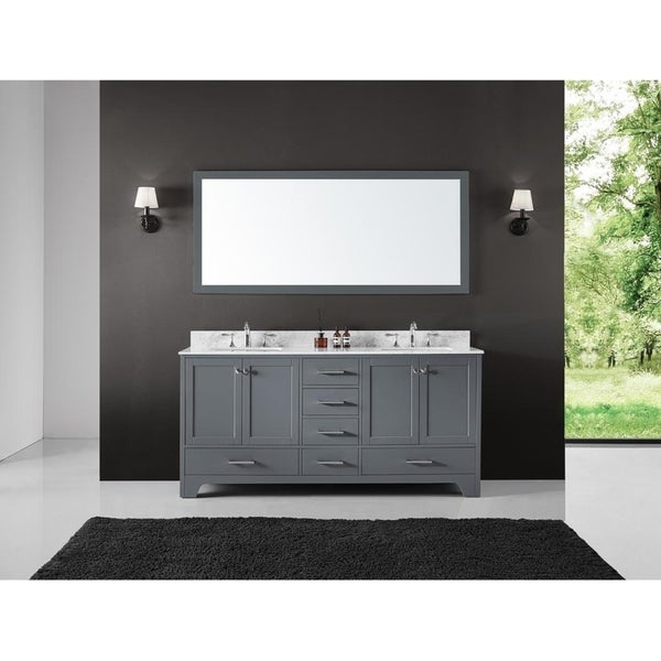 "Exclusive Heritage 72"" Double Sink Bathroom Vanity Base in Cashmere Grey"