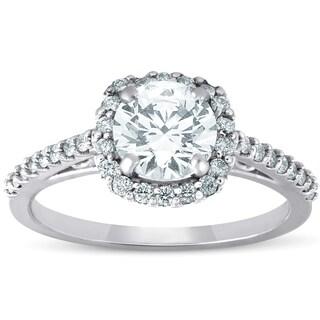 Bliss 14k White Gold 1 ct TDW Diamond Cushion Halo Engagement Ring Enhanced (G-H/SI)