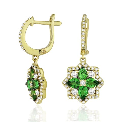 14K Yellow Gold Dangling Earrings with White Diamonds; Pear Green Garnet with Leverback Clasp