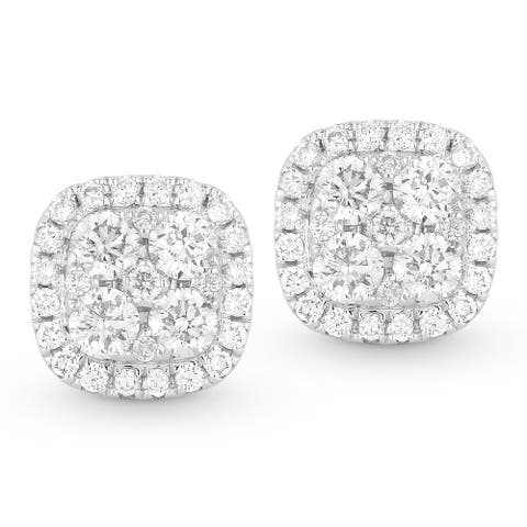 18K White Gold Earrings; Round Diamond Stud with Post Clasp