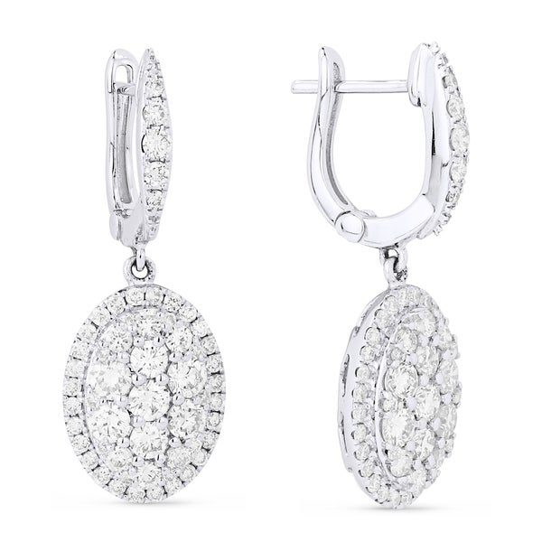 3af0b88aa Shop 18K White Gold Earrings; Round Diamond Dangling with Leverback Clasp - Free  Shipping Today - Overstock - 25073150