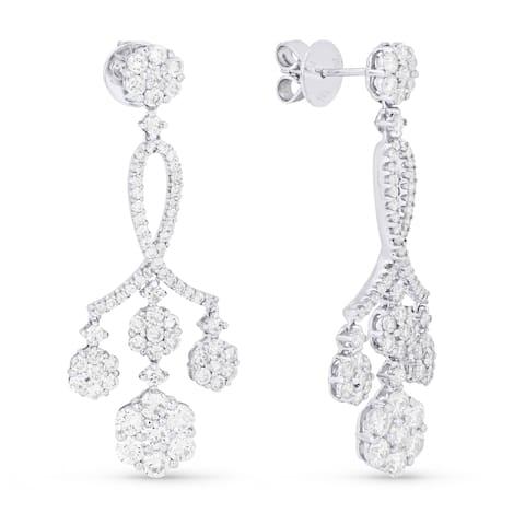 18k White Gold Dangling 3 1/3ct TDW Diamond Earrings