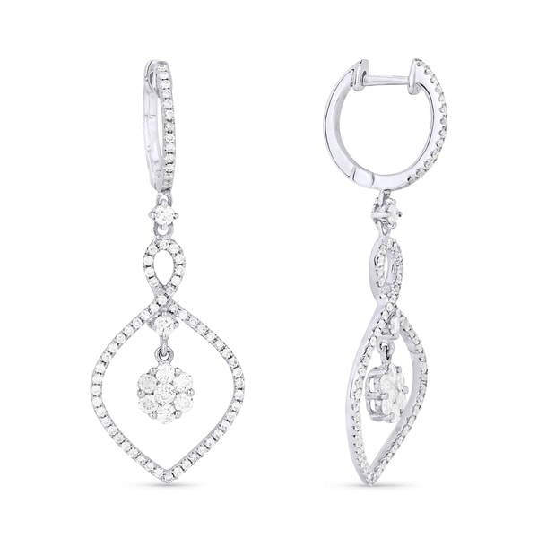 f509908f2 Shop 18K White Gold Earrings; Round Diamond Dangling with Leverback Clasp - Free  Shipping Today - Overstock - 25073190
