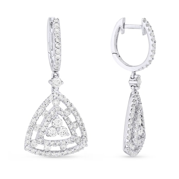 40d3be1e3 Shop 18K White Gold Earrings; Round Diamond Dangling with Leverback Clasp - Free  Shipping Today - Overstock.com - 25073223