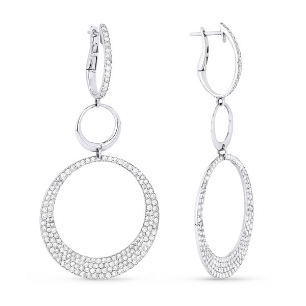 9f01f50c3 Shop 18K White Gold Earrings; Round Diamond Dangling with Leverback Clasp - Free  Shipping Today - Overstock - 25073231