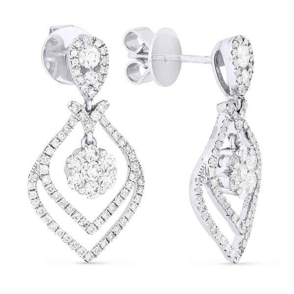 18k White Gold Earrings Round Diamond Dangling With Post Clasp