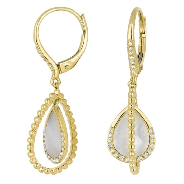 0e1bd77f3 Shop 14K Yellow Gold Earrings; Pear Diamond Dangling with Leverback Clasp - Free  Shipping Today - Overstock - 25073293
