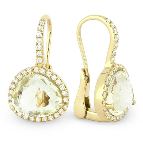 14K Yellow Gold Dangling Earrings with White Diamonds; Green Amethyst with Leverback Clasp