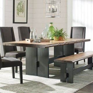Knoll Natural Wood Live Edge Dining Table - Charcoal