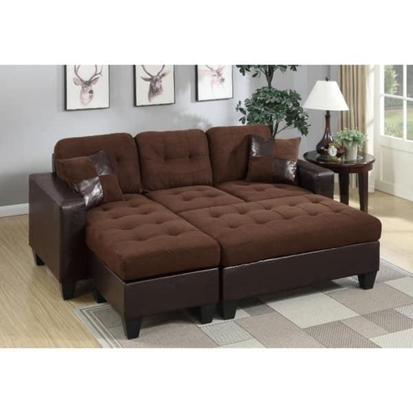 Astounding Vega Chocolate Microfiber Faux Leather Sectional Sofa And Ottoman Bralicious Painted Fabric Chair Ideas Braliciousco