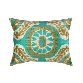 Pasargad Green/Multicolor Silk and Velvet Ikat Pillow - 15 x 20