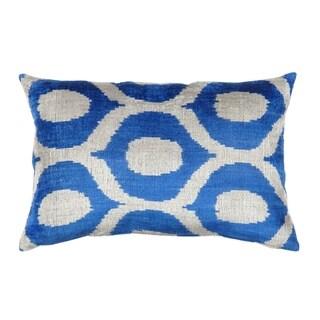 Pasargad Ikat Blue Silk Velvet 16-inch x 24-inch Throw Pillow