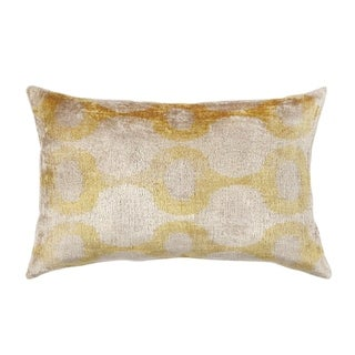 Pasargad Silk Velvet Ikat Gold Pillow