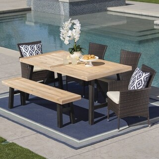 Jacks Outdoor 6-Piece Rectangle Wicker Wood Dining Set with Cushions by Christopher Knight Home