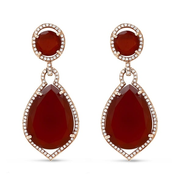 77fb0f5c369cd 14K Rose Gold Dangling Earrings with White Diamonds; Pear Red Agate with  Omega Clasp