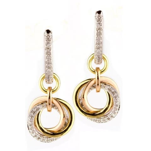 14K White Gold Earrings; Round Diamond Dangling with Leverback Clasp