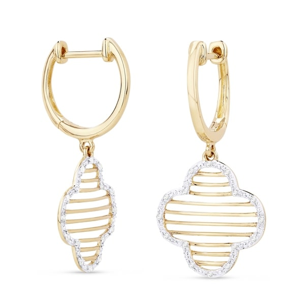 279c7d6df Shop 14K Two-Tone Gold Earrings; Round Diamond Dangling with Leverback Clasp  - Free Shipping Today - Overstock - 25073796
