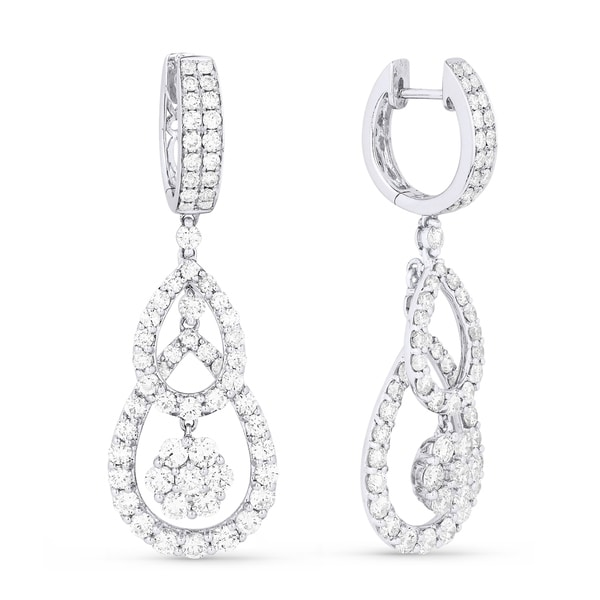 4f1aa80d8 Shop 18K White Gold Earrings; Round Diamond Dangling with Leverback Clasp - Free  Shipping Today - Overstock - 25073805