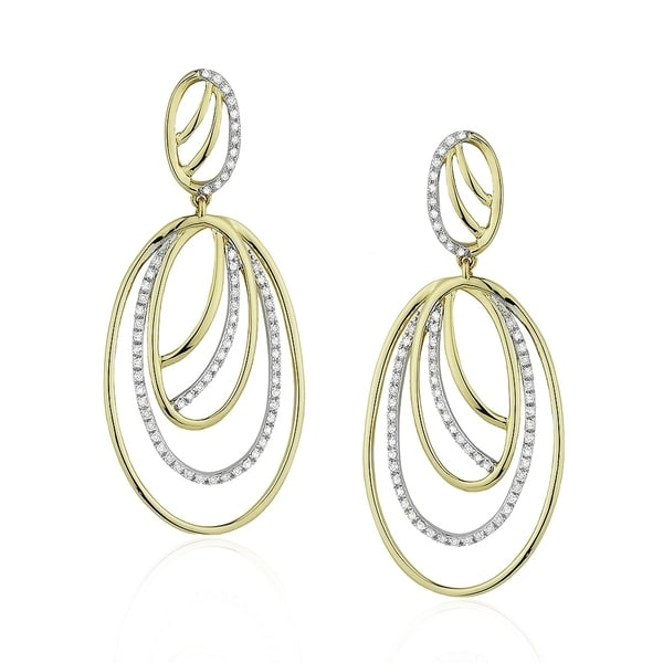 f1b355df0 Shop 14K Yellow Gold Earrings; Round Diamond Dangling with Post Clasp - Free  Shipping Today - Overstock - 25073858