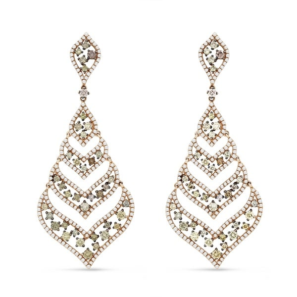 14K Rose Gold Earrings; Round Diamond Dangling with Post Clasp