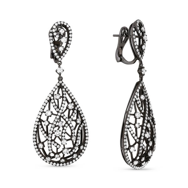 18k White Gold Earrings Round Diamond Dangling With Omega Clasp