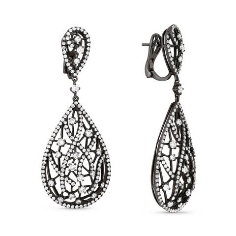 18K White Gold Earrings; Round Diamond Dangling with Omega Clasp