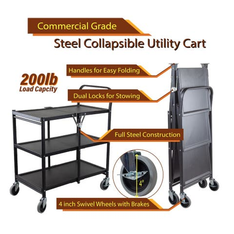 InStyleDesign-3 Tier Heavy Duty Metal Foldable Utility Cart