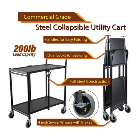 InStyleDesign-2 Tier Heavy Duty Metal Foldable Utility Cart