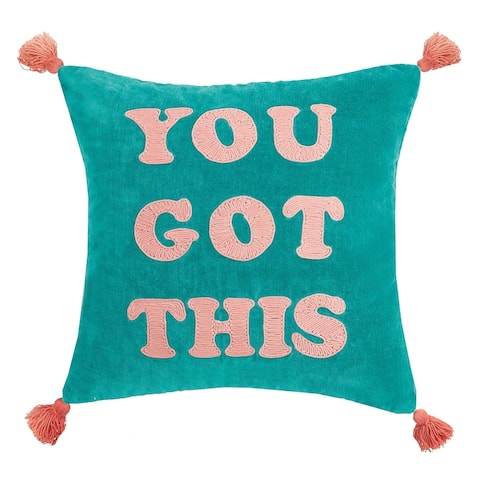 You Got This Tassels Embroidered Pillow by Peking Handicraft