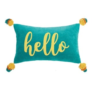 Hello Tassels Embroidered Pillow By Peking Handicraft