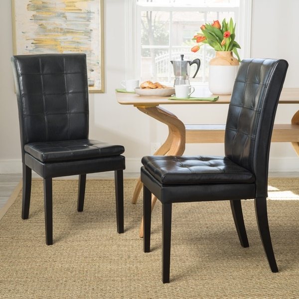 Crayton Black Leather Dining Chair (Set of 2) by Christopher Knight Home