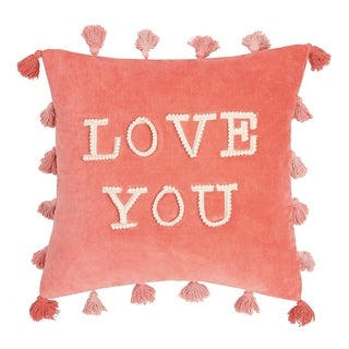 Love You Tassels Embroidered Pillow By Peking Handicraft