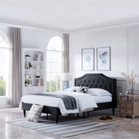 Elinor Contemporary Queen Low Profile Fully Upholstered Fabric Platform Bed Frame by Christopher Knight Home