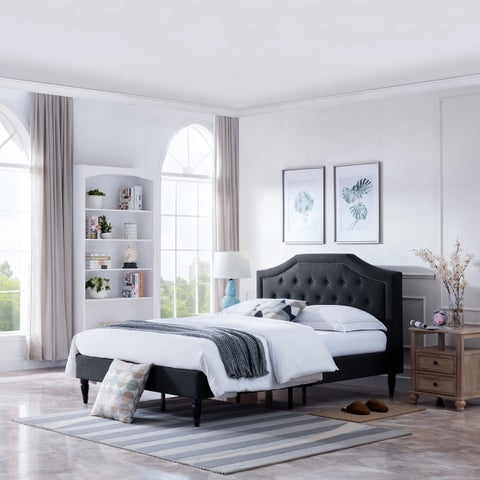 Christopher Knight Home Elinor Upholstered Fabric Queen Contemporary Low-profile Platform Bed Frame