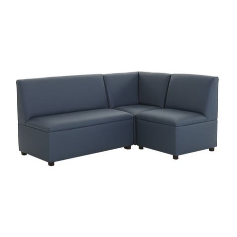 BrandNew World Modern Casual Enviro Child Upholstery 3 Piece Sofa Set - Blue
