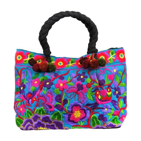 Handmade Chic & Beautifully Embroidered Blue & Purple Flower Garden Handbag (Thailand)