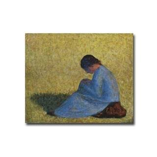 Seated Woman by Georges Seurat Gallery Wrapped Canvas Giclee Art (13 in x 16 in, Ready to Hang) - Multi-color