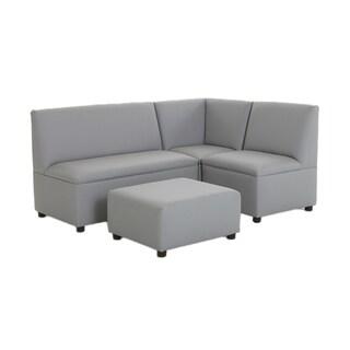 BrandNew World Modern Casual Enviro Child Polyurethane Upholstery 4 Piece Sofa Set - Gray