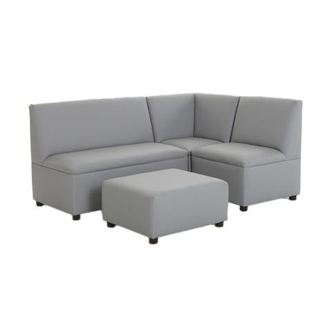 BrandNew World Modern Casual Enviro Child Polyurethane Upholstery 4 Piece Sofa Set - Gray