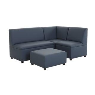 BrandNew World Modern Casual Enviro Child Polyurethane Upholstery 4 Piece Sofa Set - Blue