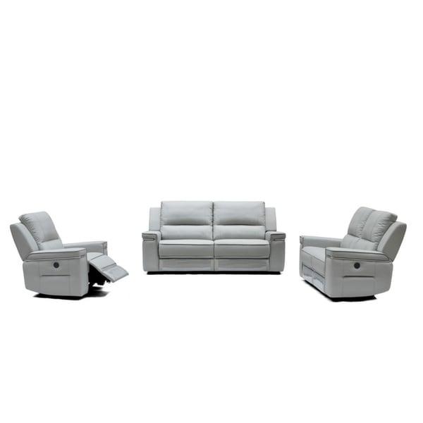 Divani Casa Hearst Modern Grey Leatherette Sofa Set w/ Recliners
