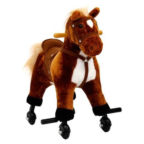 Kinbor Kids Rocking Horse Baby Plush Toy Ride On Rocker w/ Casters Children's Day Birthday Gift