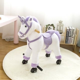 Kinbor Kids Plush Toy Rocking Horse Baby Rocker Ride On for Children's Day Birthday Gift w/ Casters