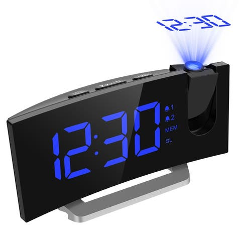MPOW FM Projection Clock with 2 Alarms Multifunctional Curved Screen Clock 5-inch LED Display with Dimmer